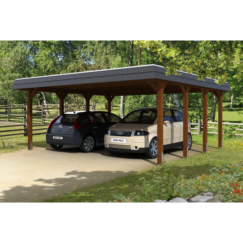 skan holz carport spreewald 585 cm x 589 cm schwarze blende nussbaum kaufen bei obi. Black Bedroom Furniture Sets. Home Design Ideas