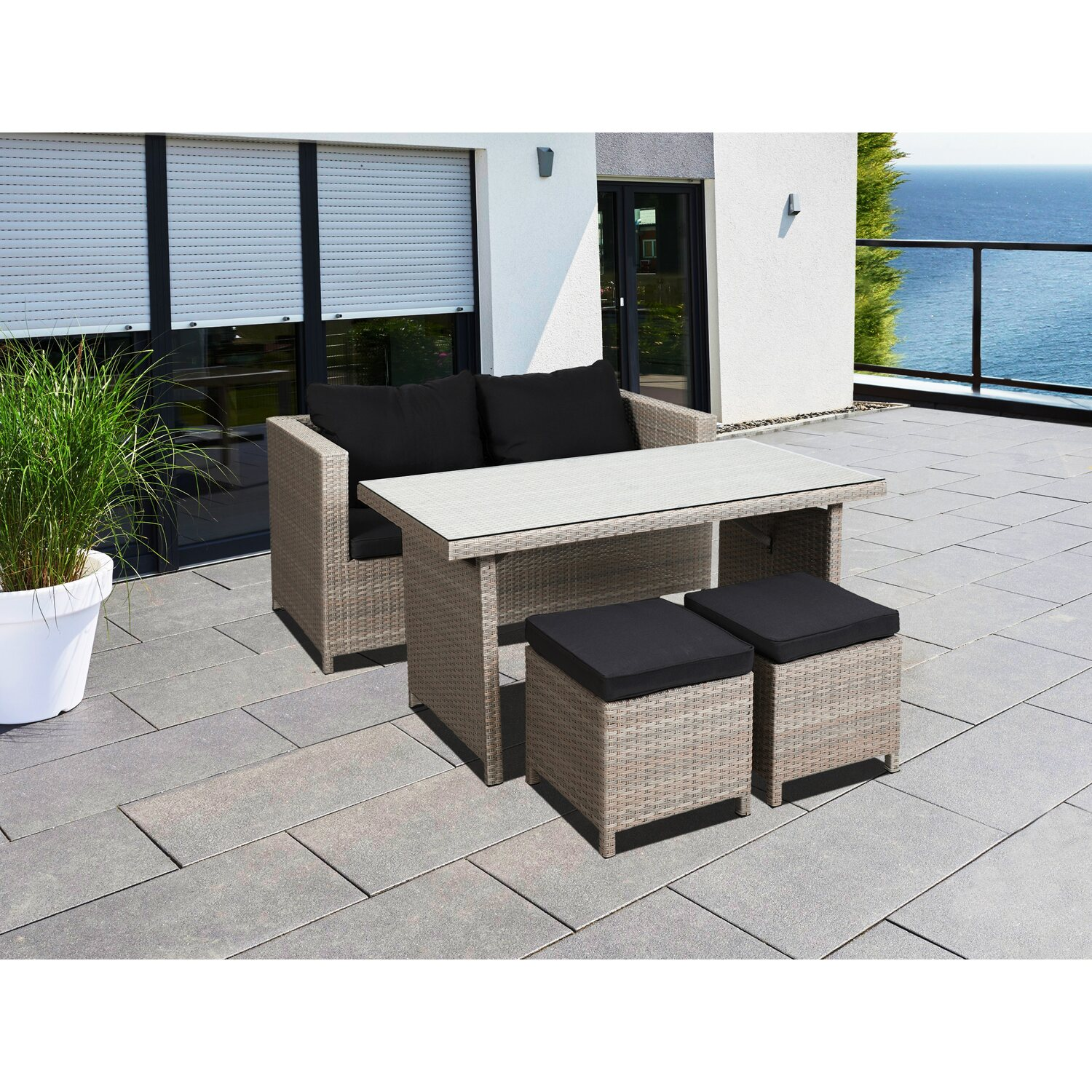 Greemotion Garten-Lounge Set Kiel Polyrattan Be...
