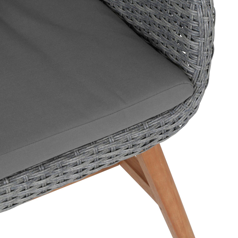 Greemotion Design Gartenstuhl Madeira Polyrattan Grau