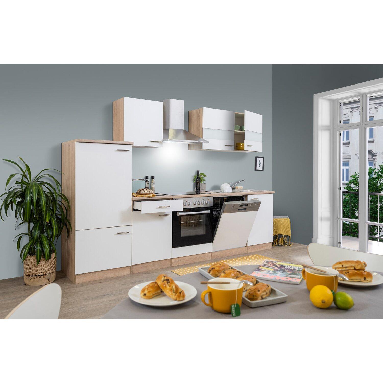 Respekta Küchenzeile KB280ESWC 280 cm Weiß-Eiche Sägerau kaufen bei OBI