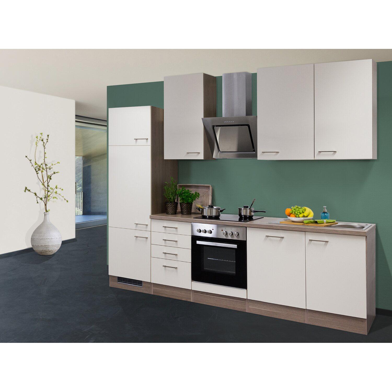 Enjoyable Flex Well Exclusiv Kuchenzeile Eico 280 Cm Magnolienweiss Tennessee Eiche Interior Design Ideas Clesiryabchikinfo