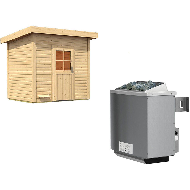 Karibu Saunahaus Arvo Ofen mit eing. Strg. Bluetooth Lautsprecher + Zubehör Preisvergleich