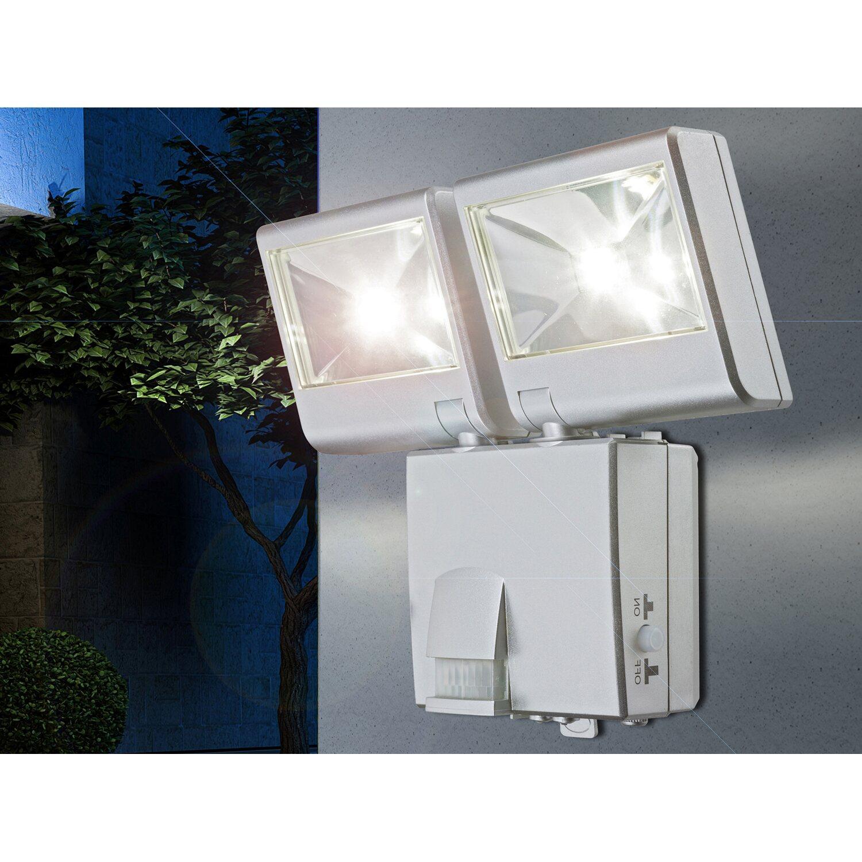 Globo LED-Solar-Außenstrahler mit Bewegungsmelder Kunststoff Silber EEK: A