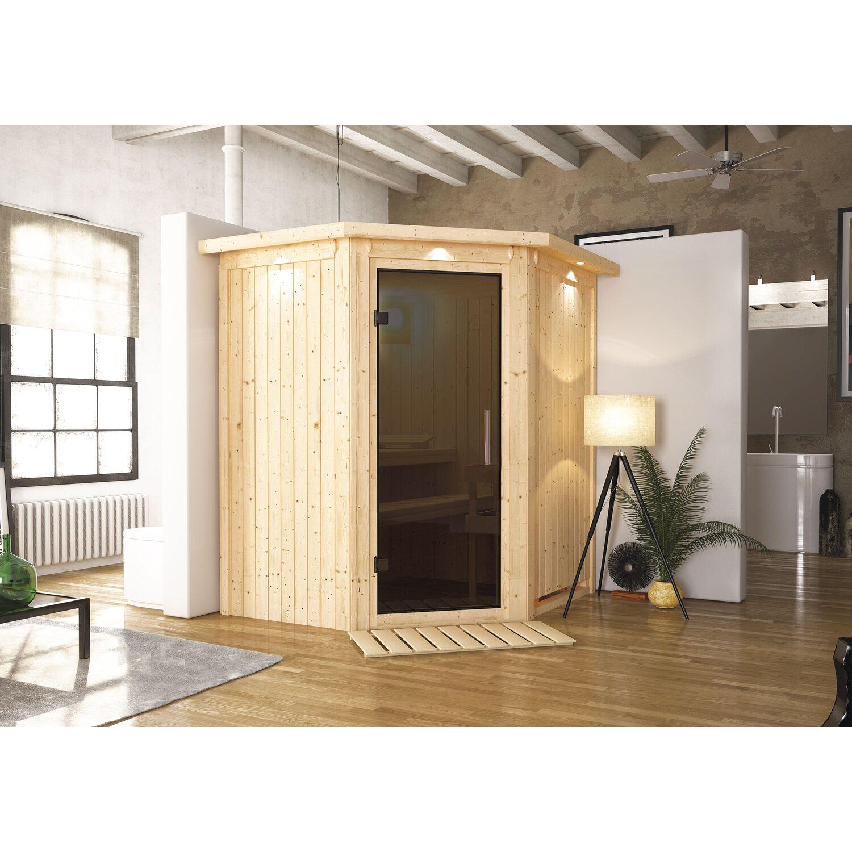 karibu sauna taurin mit ganzglast r eckeinstieg graphit mit led spots kaufen bei obi. Black Bedroom Furniture Sets. Home Design Ideas