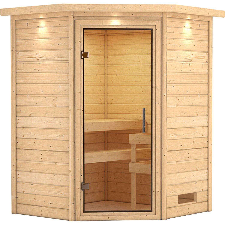 karibu sauna franka mit klar ganzglast r eckeinstieg mit dachkranz kaufen bei obi. Black Bedroom Furniture Sets. Home Design Ideas