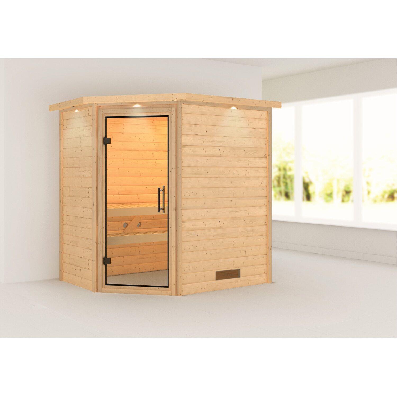karibu sauna svea mit klar ganzglast r eckeinstieg mit dachkranz kaufen bei obi. Black Bedroom Furniture Sets. Home Design Ideas