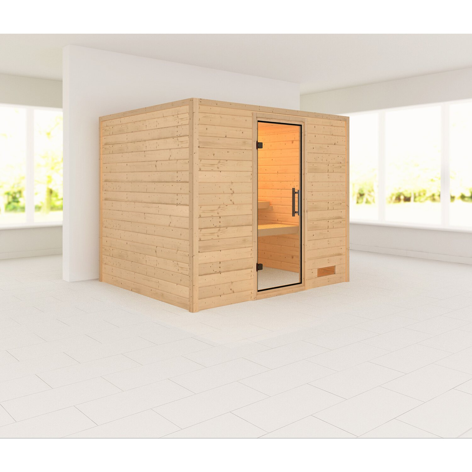 karibu sauna karla mit fronteinstieg glast r klar kaufen bei obi. Black Bedroom Furniture Sets. Home Design Ideas