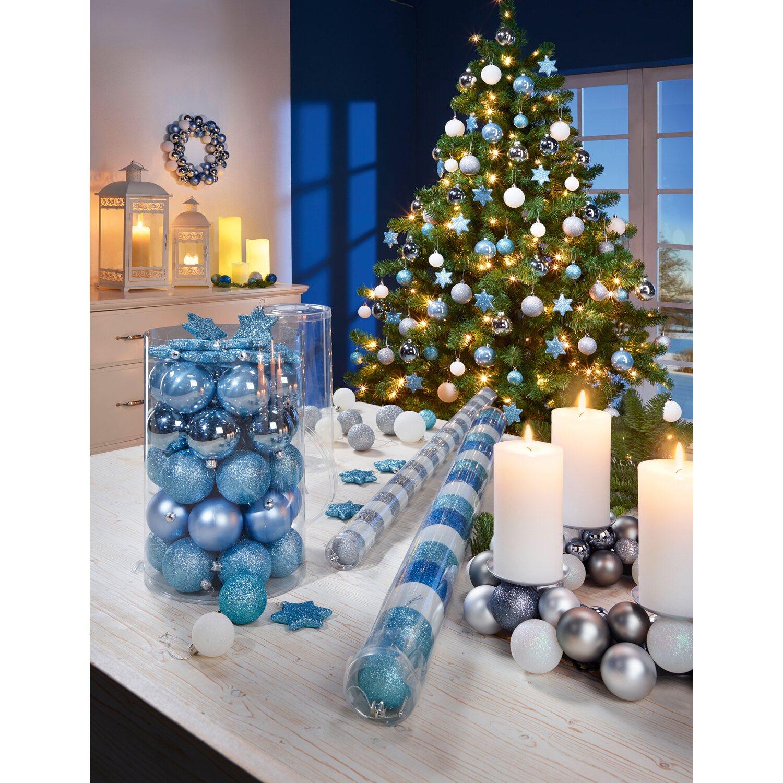 Baumschmuck set 50 teilig eisblau kaufen bei obi - Obi weihnachtskugeln ...