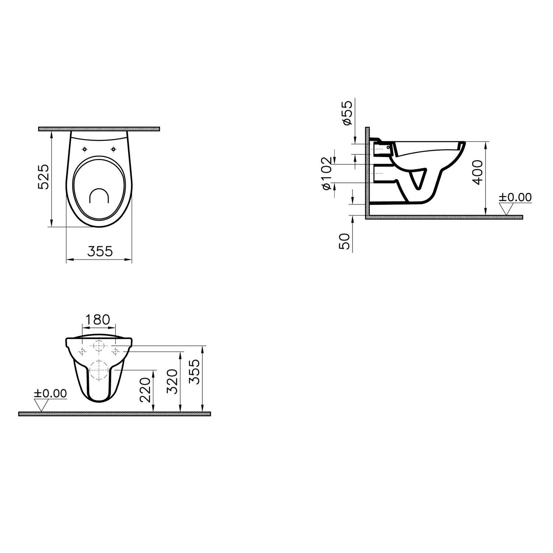 Super Sanicomfort Wand-WC Base Flachspüler Weiß kaufen bei OBI LV11