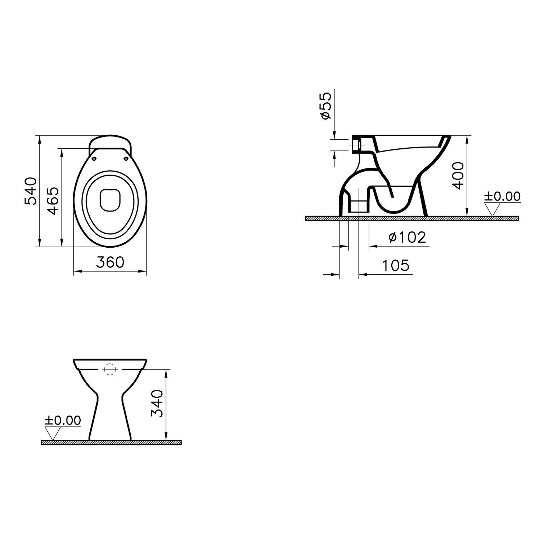 sanicomfort stand wc base tiefsp ler abgang senkrecht wei kaufen bei obi. Black Bedroom Furniture Sets. Home Design Ideas