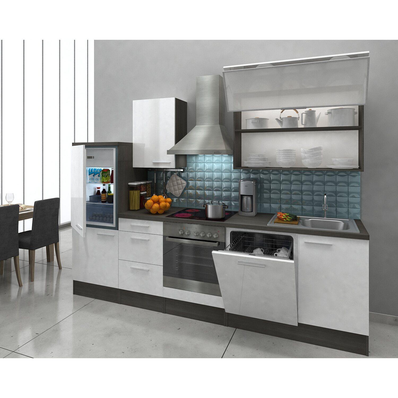 Respekta Premium Küchenzeile RP280EWC 280 cm Weiß-Eiche Grau ...