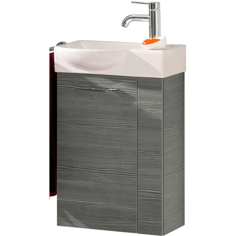 Fackelmann  Gäste-Waschbeckenunterschrank links 44 cm Vadea Pinie Anthrazit