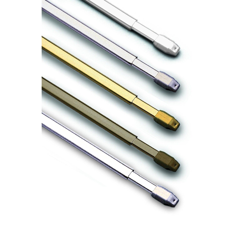 Vitragestange flach Ø 11 mm Weiß 50 cm - 80 cm Preisvergleich