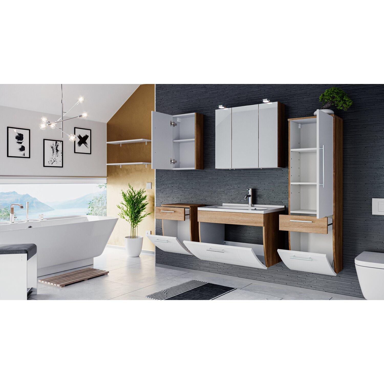 Wunderbar Badezimmermöbel Set Ideen Von Posseik Badmöbel-set Salona Sonoma-weiß 6-teilig Eek: A++