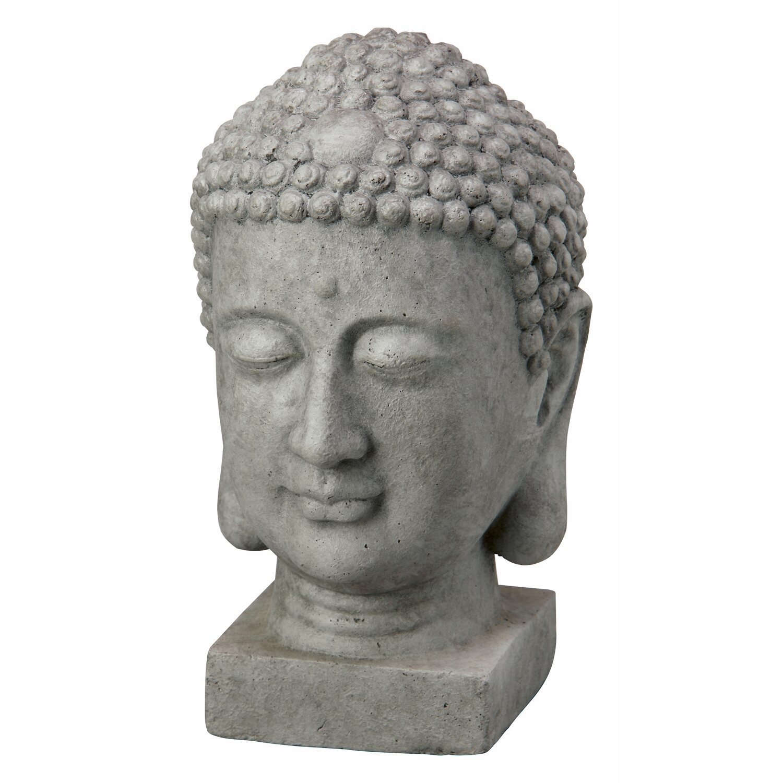 Deko Figur Buddha Kopf 20 Cm Dunkelgrau