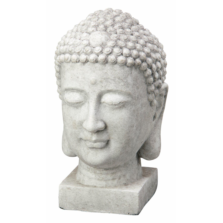 Buddha Kopf Deko.Deko Figur Buddha Kopf 38 Cm Hellgrau Kaufen Bei Obi