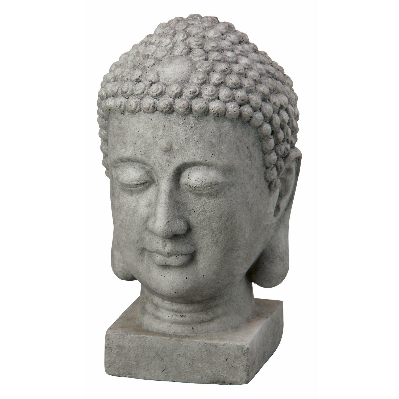 Buddha Kopf Deko.Deko Figur Buddha Kopf 38 Cm Dunkelgrau