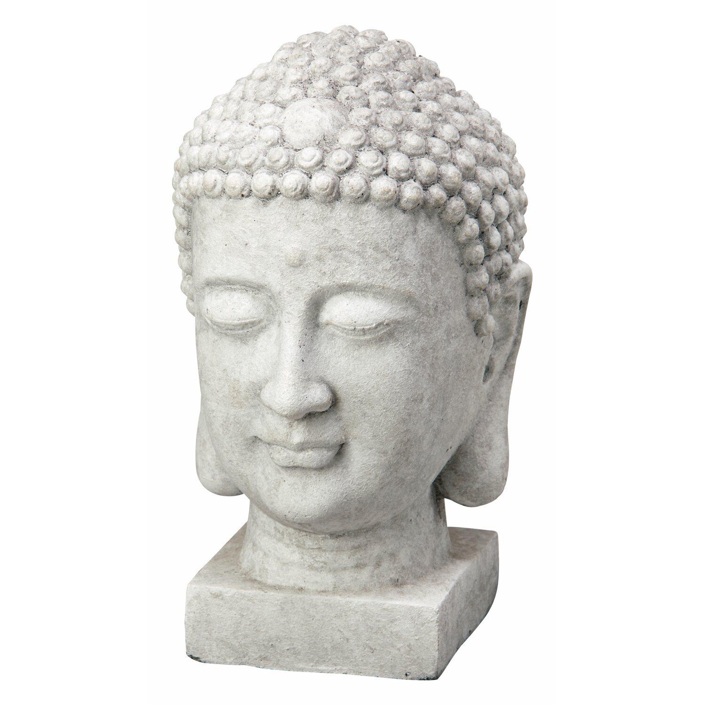 Deko Figur Buddha Kopf 20 Cm Hellgrau