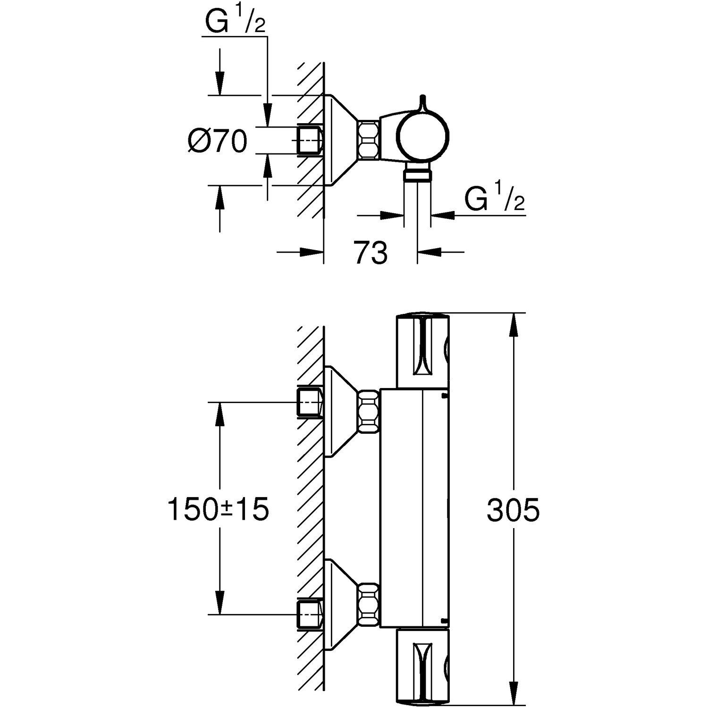 Grohe mischbatterie grohtherm 800 mit schutz gegen temperaturschwankungen kaufen bei obi - Obi mischbatterie ...