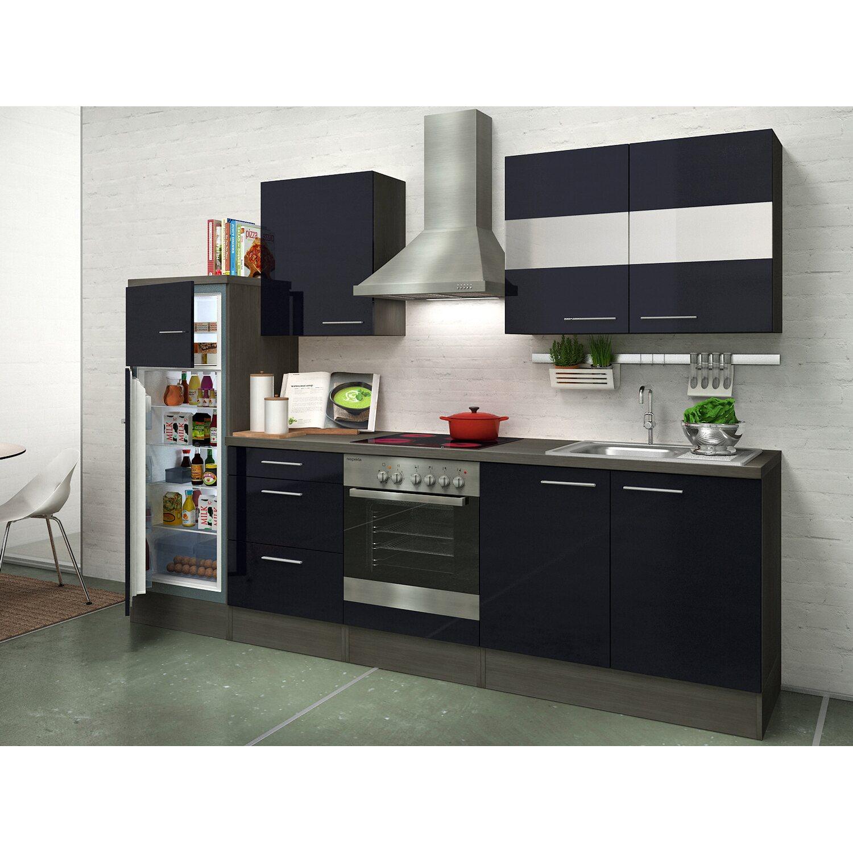 respekta premium k chenzeile rp270escgke 270 cm schwarz eiche grau nachbildung kaufen bei obi. Black Bedroom Furniture Sets. Home Design Ideas