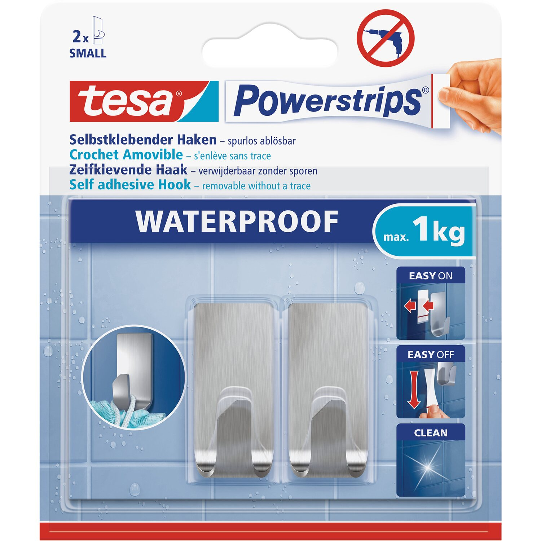 Tesa Powerstrips Haken Waterproof Zoom Edelstahl Small 2 Stück