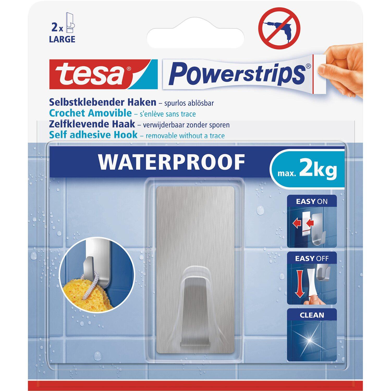 tesa powerstrips haken waterproof eckig edelstahl large kaufen bei obi. Black Bedroom Furniture Sets. Home Design Ideas