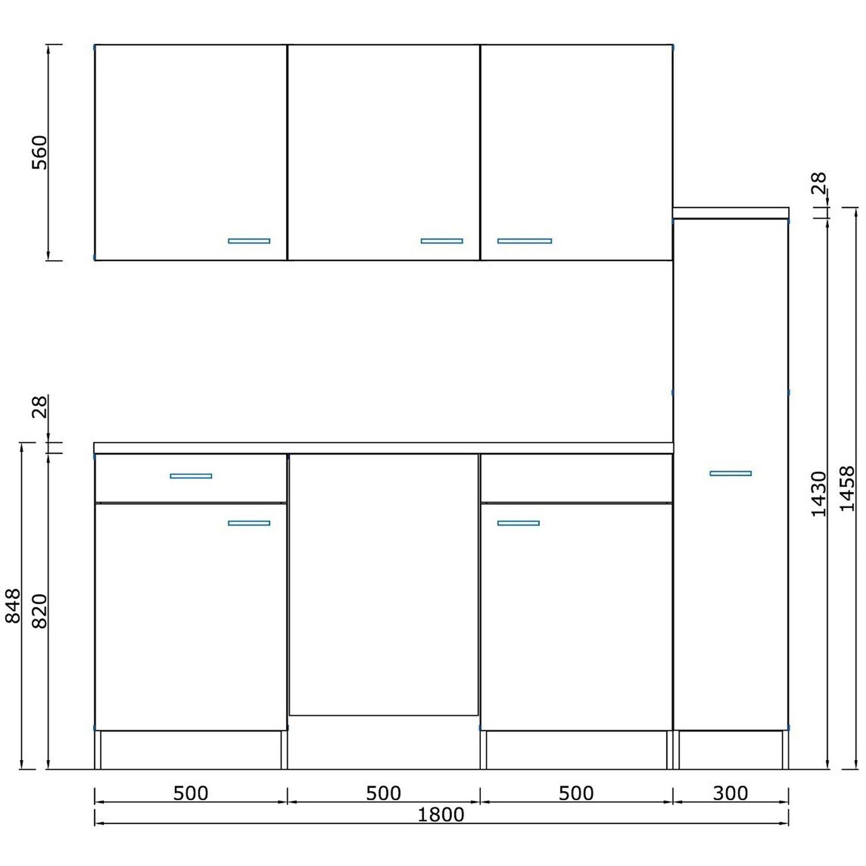 respekta k chenzeile kb180esrmi 180 cm rot eiche s ger u nachbildung kaufen bei obi. Black Bedroom Furniture Sets. Home Design Ideas