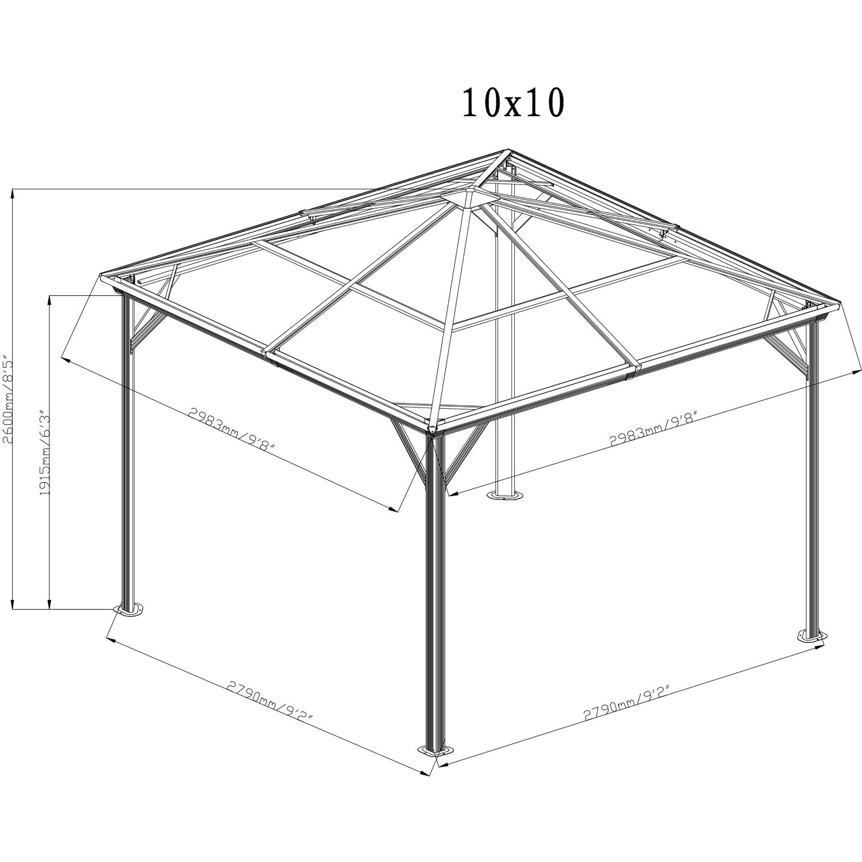 Sojag Aluminium Pavillon Verona 10 x 10 Anthrazit 298 cm x 298 cm x ...