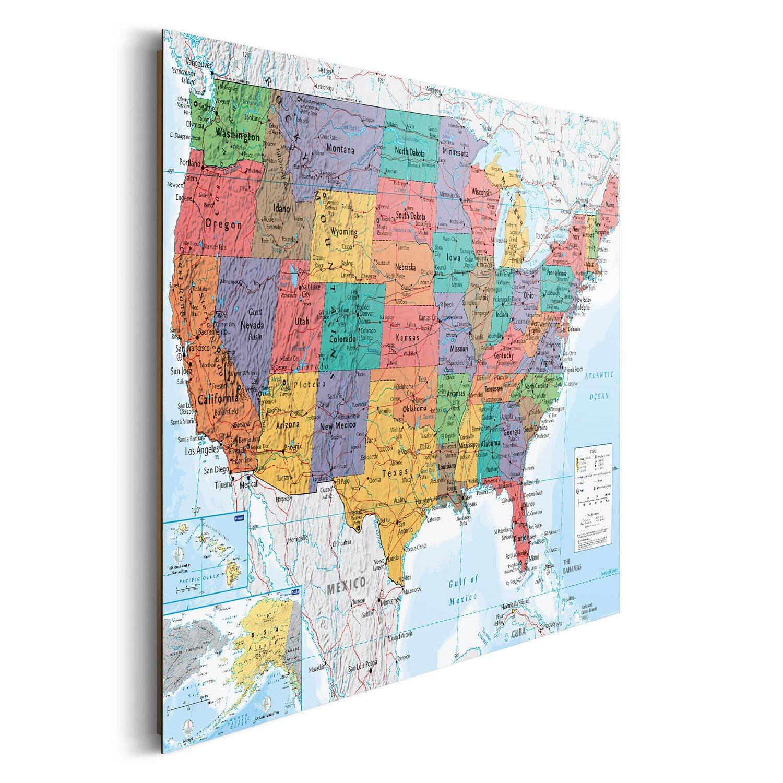 Wandbild Landkarte Amerika Englisch 90 Cm X 60 Cm Kaufen Bei Obi