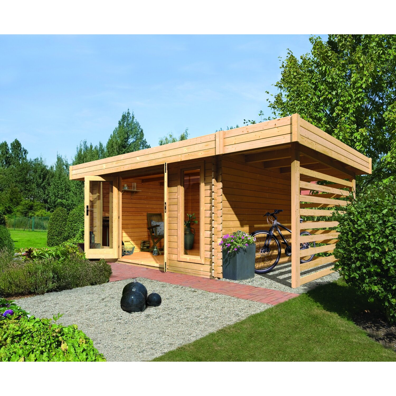 holz gartenhaus varde 2 set natur 493 cm x 493 cm mit feuerholz schleppdach kaufen bei obi. Black Bedroom Furniture Sets. Home Design Ideas