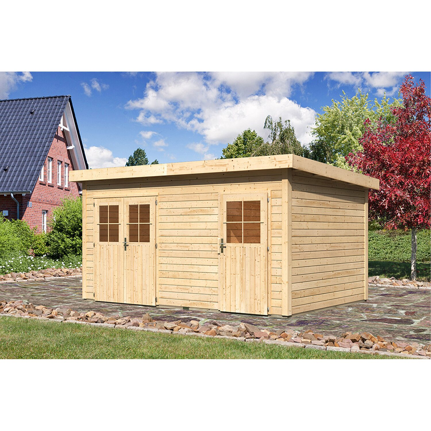 holz gartenhaus glostrup mit mittelwand natur b x t 420 cm x 270 cm kaufen bei obi. Black Bedroom Furniture Sets. Home Design Ideas
