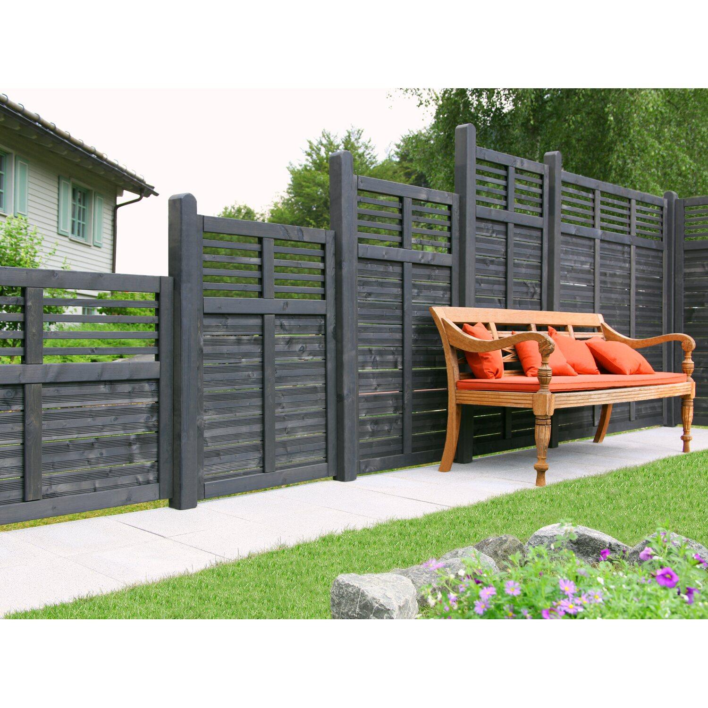 Ante Sichtschutzzaun Element Limone mit Gitter Anthrazit 180 cm x