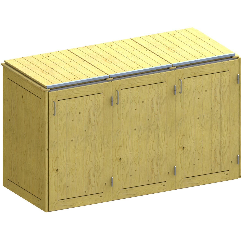 mülltonnenbox binto 5 nadelholz 3er box mit klappdeckel