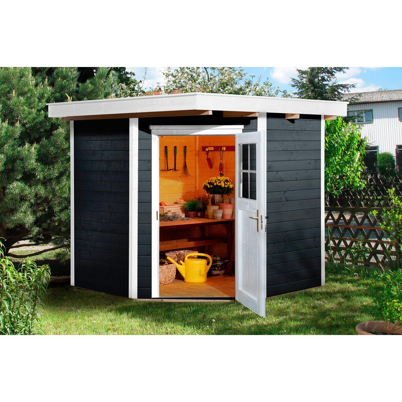 weka holz gartenhaus angolo anthrazit a bxt 209 cm x 205 cm kaufen bei obi. Black Bedroom Furniture Sets. Home Design Ideas