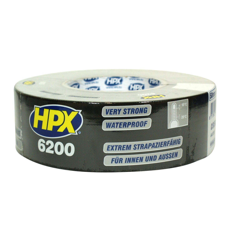 HPX  Panzer-Tape Gewebe-Klebeband 6200 Schwarz 5 cm x 25 m