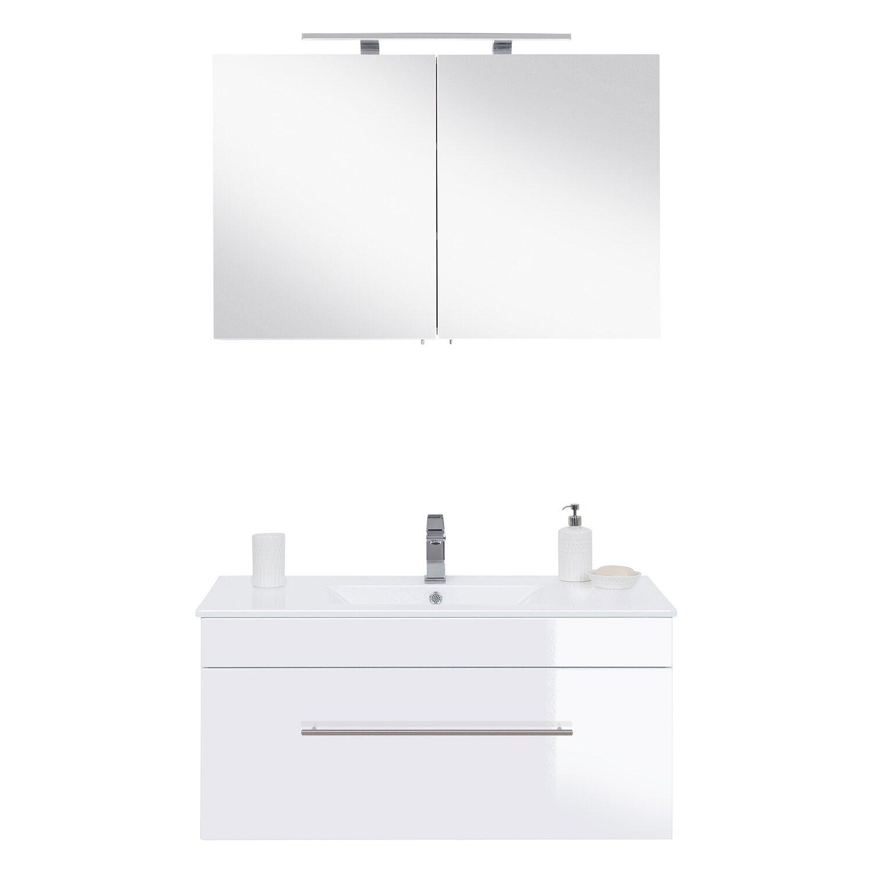 Posseik Badmöbel-Set Viva 100 cm Weiß Hochglanz 2-teilig EEK: A++ ...