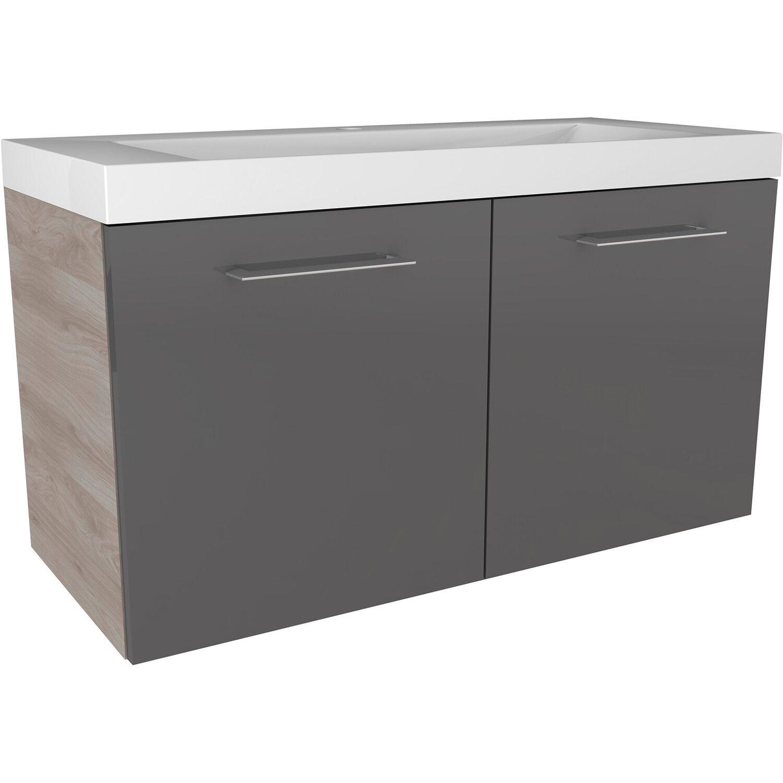 fackelmann waschbeckenunterschrank 80 cm lima basaltgrau steinesche 2 t rig kaufen bei obi. Black Bedroom Furniture Sets. Home Design Ideas