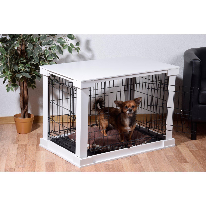 hundebox indoor mit tischoberflaeche      cm weiss