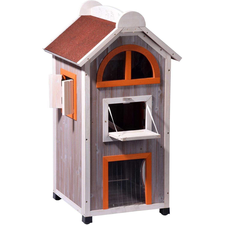 Katzenhaus Fancy Cat aus Holz für draußen und d...