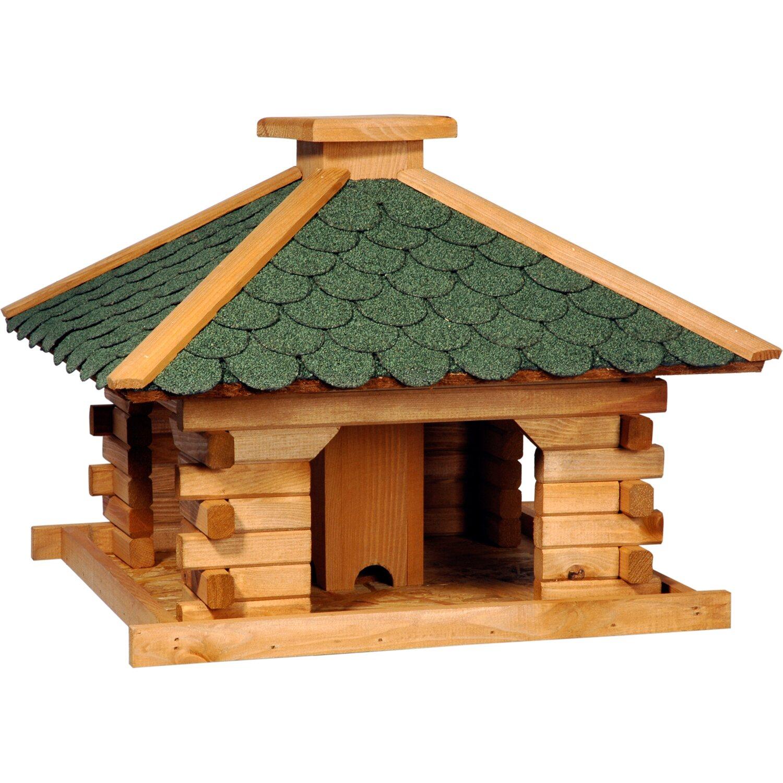 rustikales xl vogelfutterhaus im blockhaus stil mit gruenem