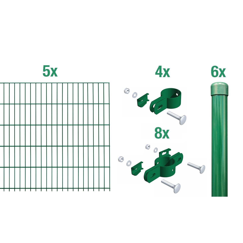 Metallzaun Grund Set Einstabmatte Grün z Einbetonieren 125 cm x