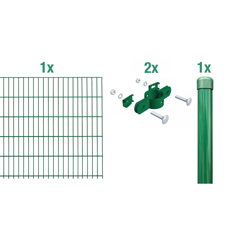 Metallzaun Anbau Set Einstabmatte Grün z Einbetonieren 100 cm x