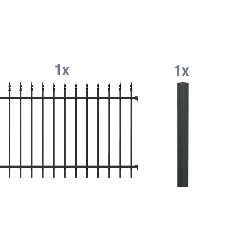 GAH Alberts Metallzaun Anbau-Set Chaussee Schwarz z. Einbetonieren 100 cm x 200 cm