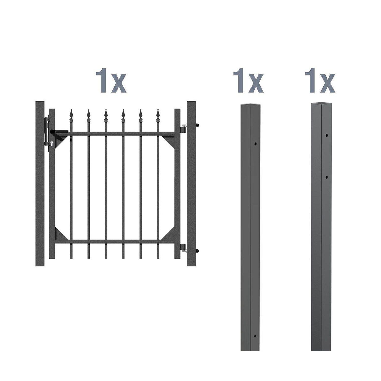 metallzaun einzeltor set chaussee anthrazit z. Black Bedroom Furniture Sets. Home Design Ideas