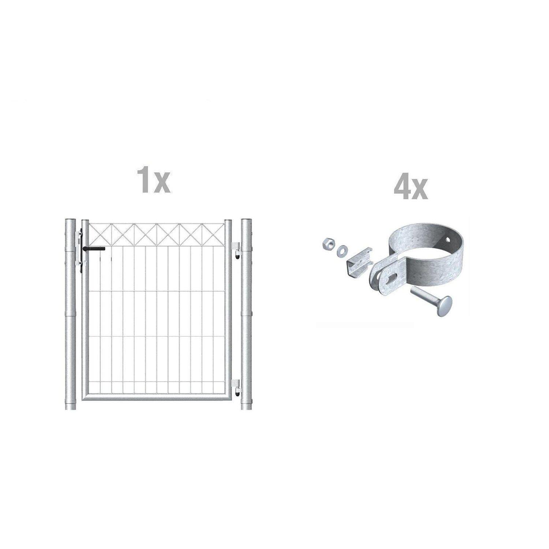 Metallzaun Einzeltor-Set Nexus verzinkt z. Einb...