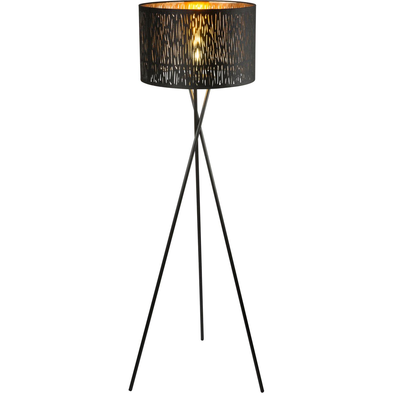 Stehlampe Schwarz Gold Metall