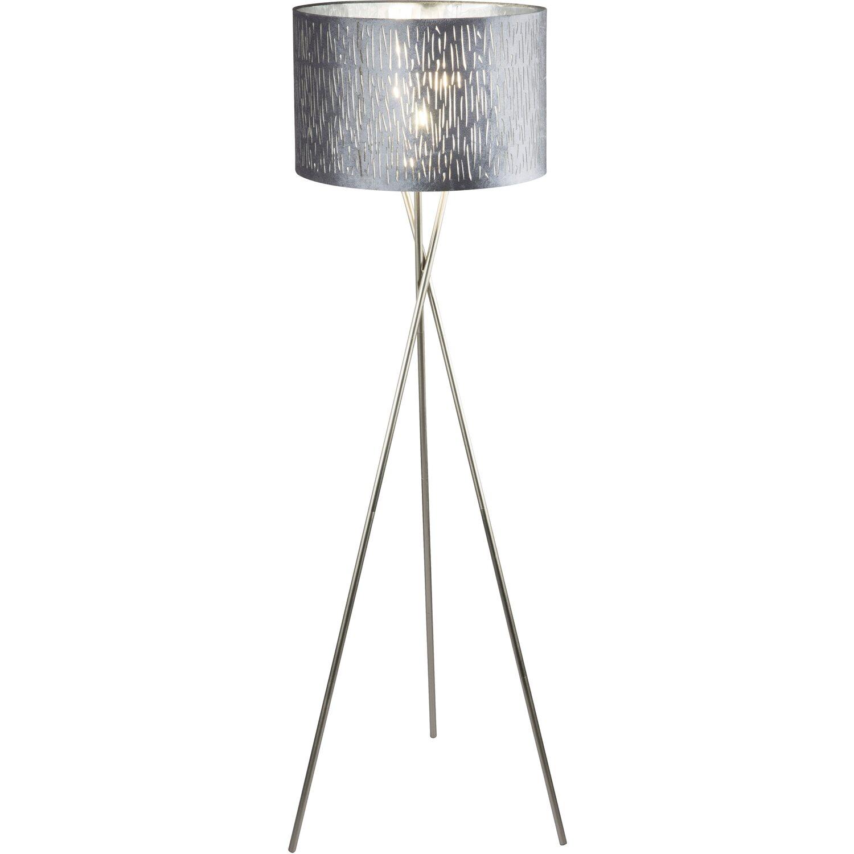 Globo Stehleuchte Tarok Samt Silber Metallic 1 Flammig O 45 Cm H 160 Eek E A Kaufen Bei Obi