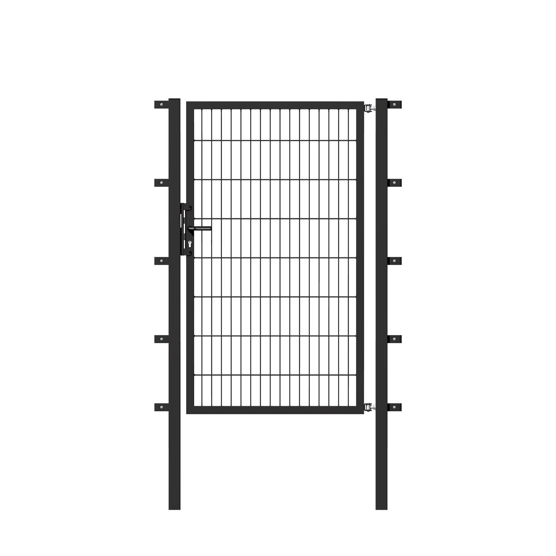 metallzaun einzeltor f r doppelstabmatte anthrazit z. Black Bedroom Furniture Sets. Home Design Ideas