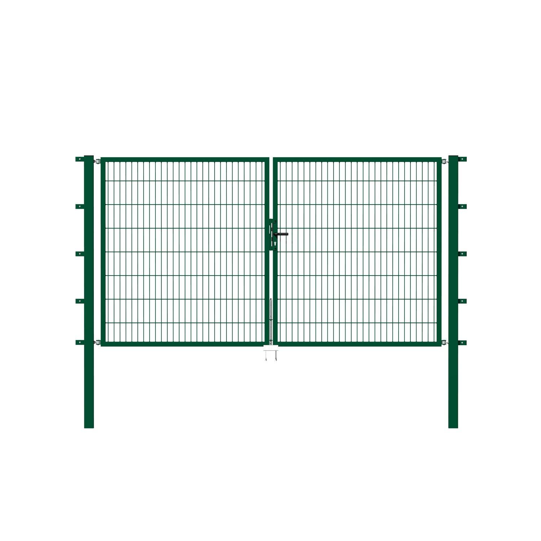 metallzaun doppeltor f r doppelstabmatte gr n z. Black Bedroom Furniture Sets. Home Design Ideas