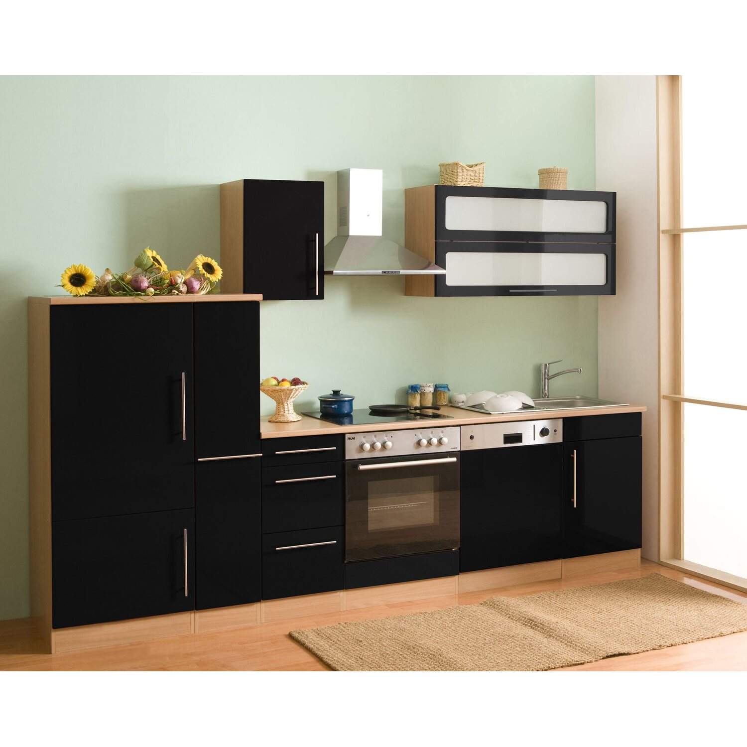 mebasa k chenzeile cucina 300 cm komplett mit ger ten schwarz kaufen bei obi. Black Bedroom Furniture Sets. Home Design Ideas